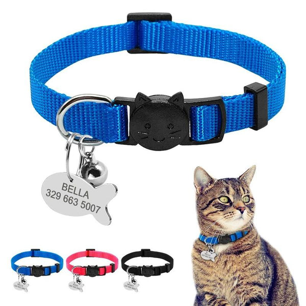 Quick Release Cat Collar with Customized Tag and Bell-Cat Collars-Black-neck for 20 to 31cm-17023521-plain-black-neck-for-20-to-31cm-Paws and Whiskers
