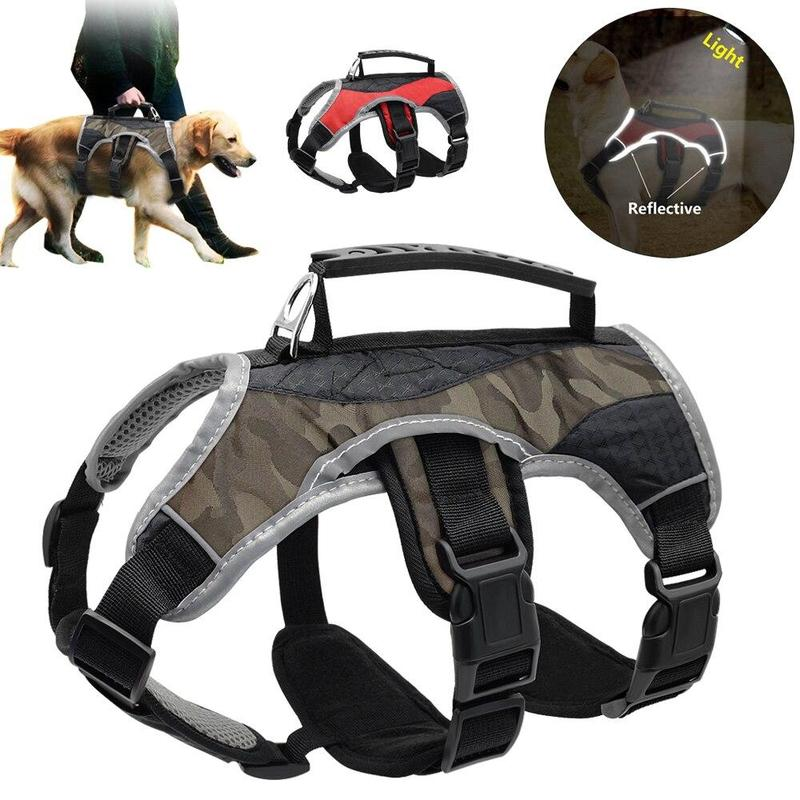 Reflective Dog Harness with Quick Control Lifting Handle-Dog Harnesses-Gray-S-15620524-gray-s-Paws and Whiskers