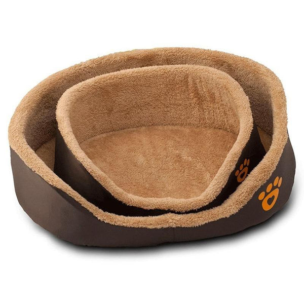 Round Dog Bed for Small Dogs and Cats-Dog Beds-S = 45 x 32 x 15 cm-28086589-brown-s-Paws and Whiskers