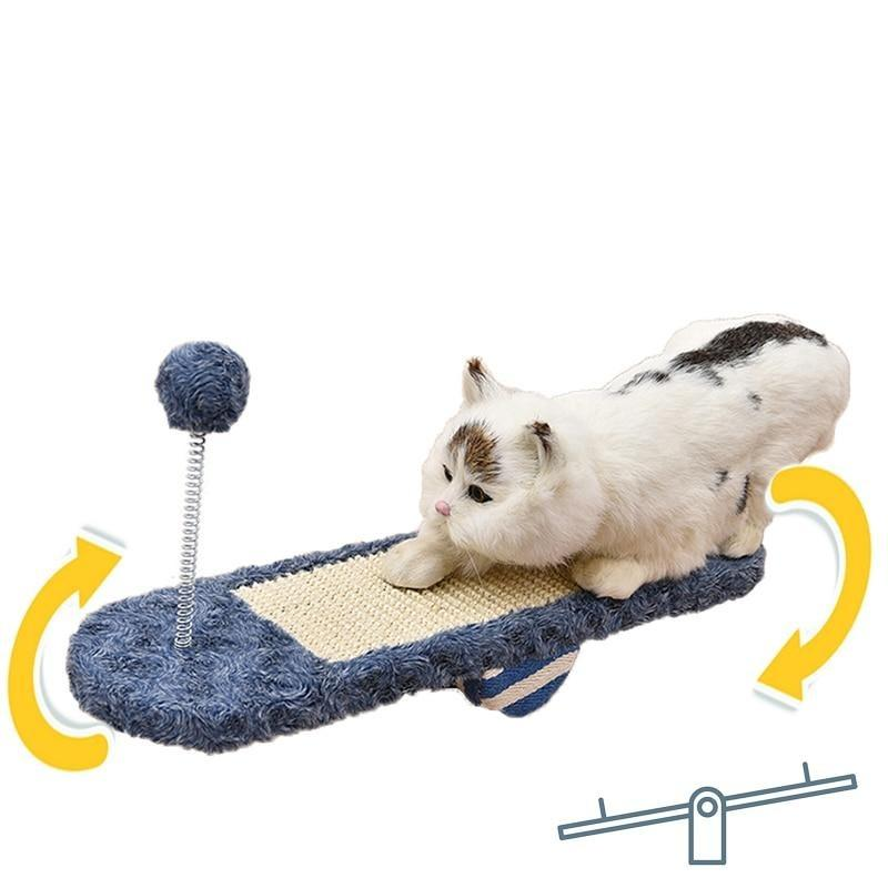 Seesaw Shaped Wooden Cat Scratcher Coated With Sisal-Cat Scratchers & Towers-Blue-23935999-blue-Paws and Whiskers
