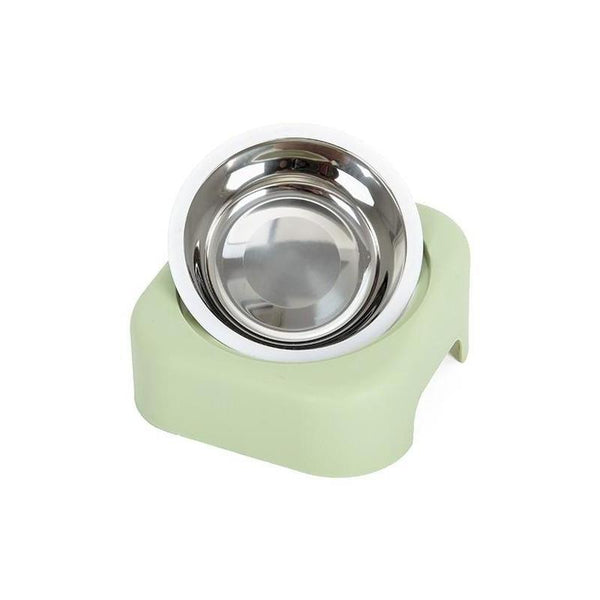 Single Elevated Stainless Steel Dog Bowl for Food and Water-Dog Food & Water Bowls-Green-18278470-green-Paws and Whiskers