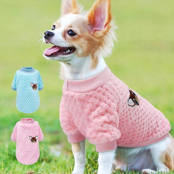 Soft Fluffy Cotton Dog Sweater with Chihuahua Embroidery-Dog Sweaters & Coats-Blue-S-20300504-blue-s-Paws and Whiskers