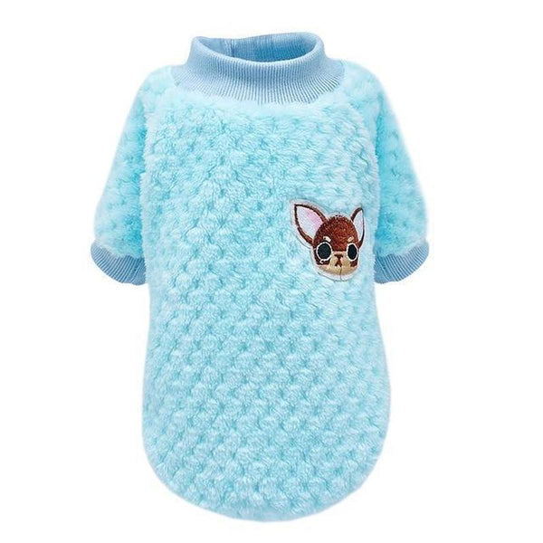 Soft Fluffy Cotton Dog Sweater with Chihuahua Embroidery-Dog Sweaters & Coats-Blue-XXL-20300504-blue-xxl-Paws and Whiskers