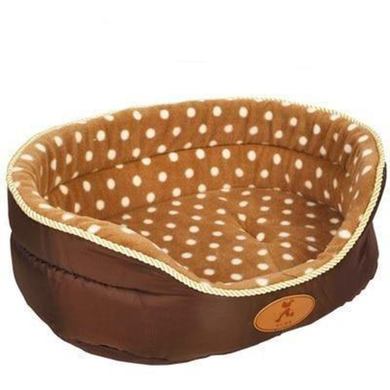 Soft Pillow Style Dog Bed Made From Breathable Coral Fleece-Dog Beds-Dots-S = 45 x 37 x 17 cm-574574-camel-dot-45x37x17cm-Paws and Whiskers