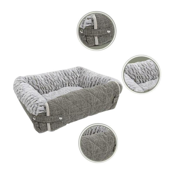 Soft-touch Dog Bed with Snap-Fastener Design-Dog Beds-S-158004-silver-s-china-Paws and Whiskers