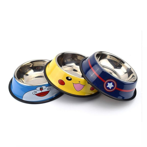 Stainless Steel Dog Bowl with Cute Cartoon Characters-Dog Food & Water Bowls-Captain America-S = 11.5 x 15 x 4 cm-27616006-c-11-5-15-4cm-Paws and Whiskers