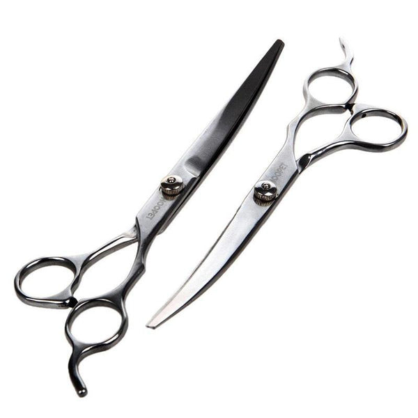 Stainless Steel Dog Trimmer Scissors-Dog Hair Clippers & Trimmers-Curved-4636123-7inch-upturned-s-Paws and Whiskers