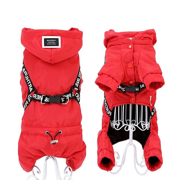 Stylish Dog Coat with Harness-Dog Sweaters & Coats-M-30440234-red-m-Paws and Whiskers