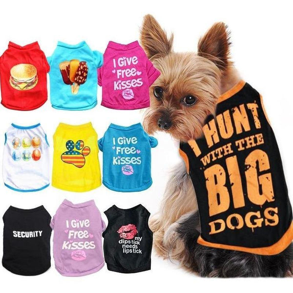 Summer Dog T Shirts with Cute Prints for Small Dogs-Dog T-Shirts & Tank Tops-Boss-XS-22567159-10-xs-Paws and Whiskers