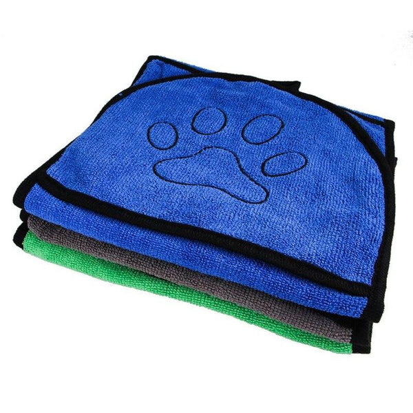 Super Absorbent Microfiber Pet Dog Towel with Hand Holds-Dog Bath & Shower-Blue-28568374-blue-m-Paws and Whiskers