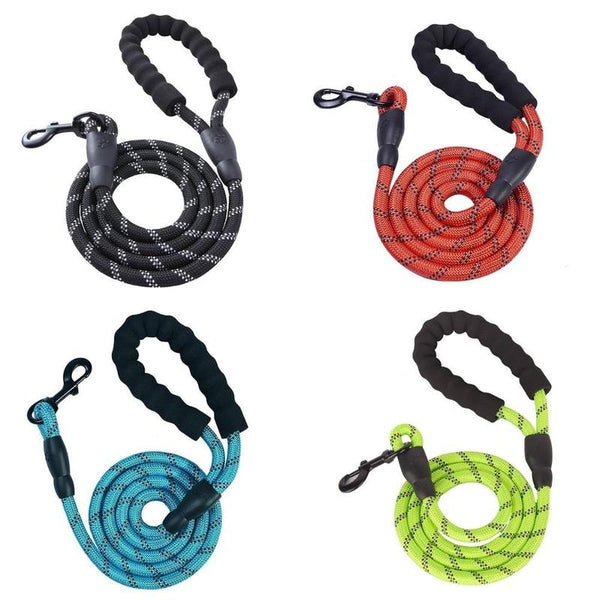 Super Strong Dog Leash Made of Mountain Climbing Rope-Dog Leashes-Black-24744555-back-braid-dog-leash-1-5m-5ft-Paws and Whiskers