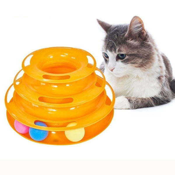 Three Level Interactive Cat Toy with Balls Made of Plastic-Cat Interactive Toys-Blue-33185812-blue-m-Paws and Whiskers