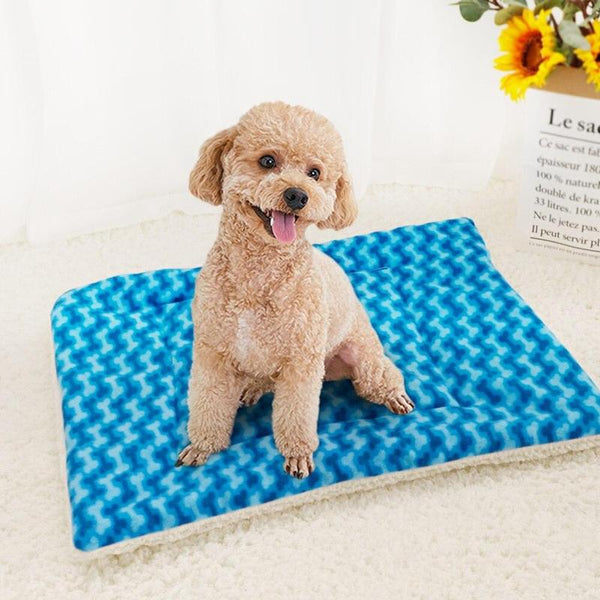 Two-Sided Thick Dog Blanket Made of Warm Fleece Material-Dog Blankets-Blue-S-30474907-blue-s-Paws and Whiskers
