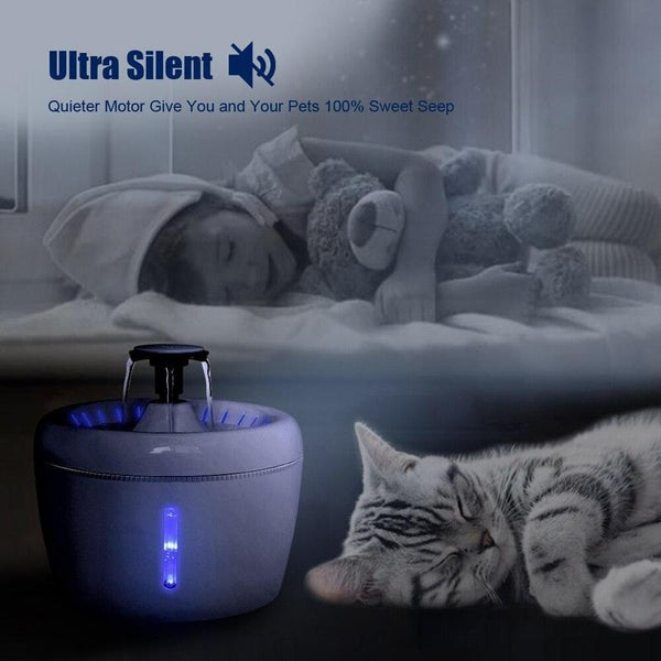 USB Electric Automatic Cat Water Fountain with Filter-Cat Automatic Feeders-Fountain-32110034-white-china-Paws and Whiskers