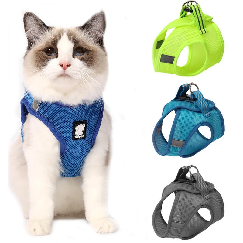 Vest Style Mesh Cat Harness with Quick Release Buckle-Cat Harnesses-Blue-XS-34672386-blue-xs-Paws and Whiskers