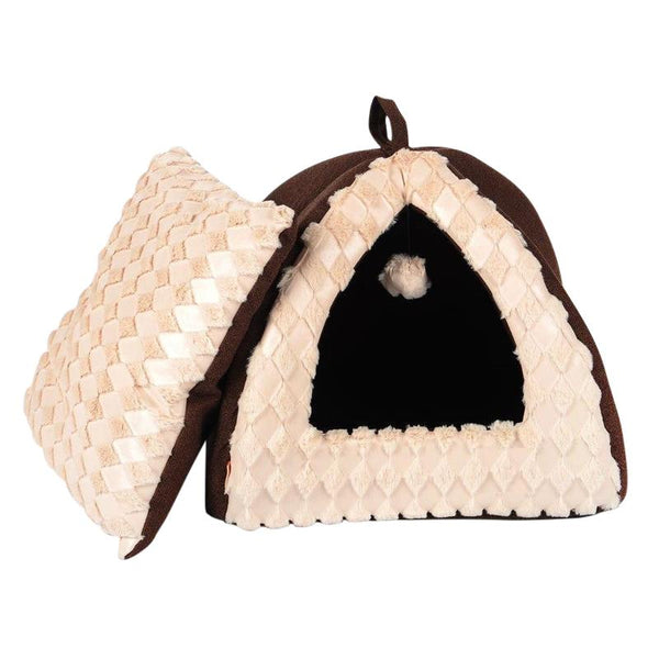 Warm Folding Velvet Cat House with Removable Cushion-Cat Houses-S = 40 x 40 x 34 cm-467829-brown-s-Paws and Whiskers