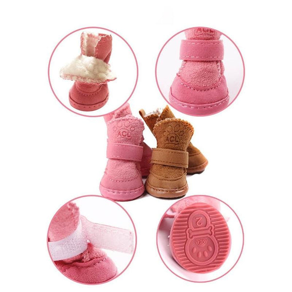 Warm Winter Anti-Slip Dog Booties For Small Dogs-Dog Shoes & Socks-Coffee-1-29009756-coffee-1-Paws and Whiskers