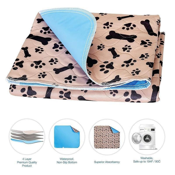 Washable Dog Pee Pads for Toilet Training-Dog Potty Training-Beige-40 x 60 cm-25909764-coffee-dog-paw-star-40x60cm-china-Paws and Whiskers