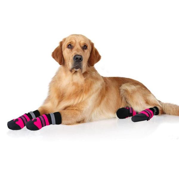 Waterproof Dog Shoes Made of Cotton with Reflective Straps-Dog Shoes & Socks-Blue-L-9782729-blue-l-Paws and Whiskers