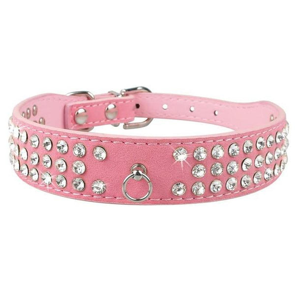 Wide Leather Dog Collar With Inset Jewels-Dog Collars-Rose-XS-18289009-021pink-xs-Paws and Whiskers