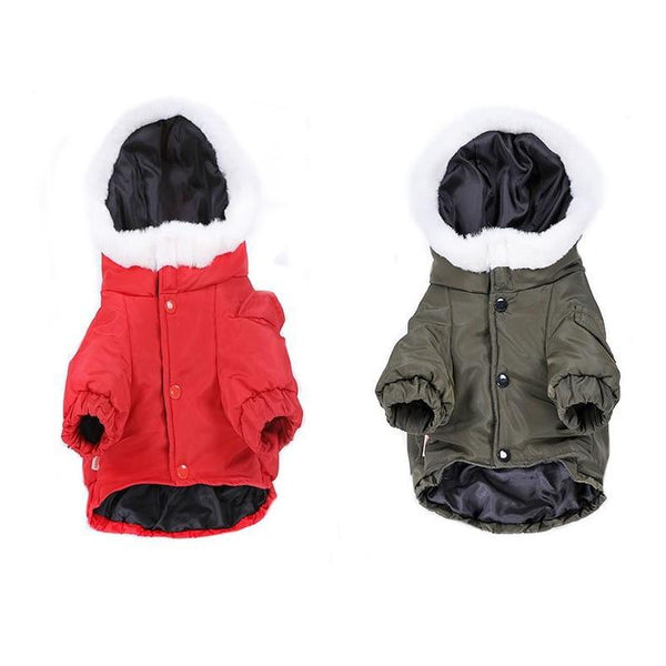 Winter Dog Puffer Jacket With Hoodie-Dog Sweaters & Coats-Green-XS-508510-green-xs-Paws and Whiskers