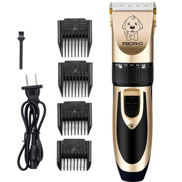 Wireless Electric Cat Shaver With 5 Grades & Cleaning Brush-Dog Hair Clippers & Trimmers-Gold-EU Plug-15248139-gold-eu-plug-Paws and Whiskers