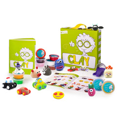Open the Joy clay set with tubs of clay and clay creation alongside instruction book and carrying case