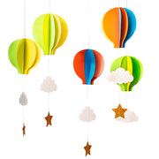 Open the joy five colorful hot air balloons to hang with a cloud and star
