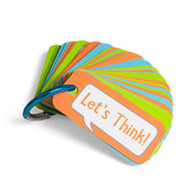 "Open the Joy's ""Let's chat"" 3 in 1 clip and go activity cards clipped onto a carabiner key ring"