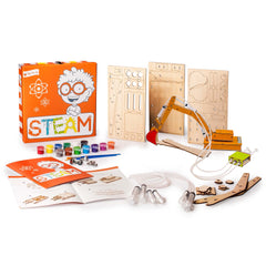Open the Joy Science Technology Engineering Art and Math activity kit for boys and girls to learn about hydraulics with this educational build it yourself activity