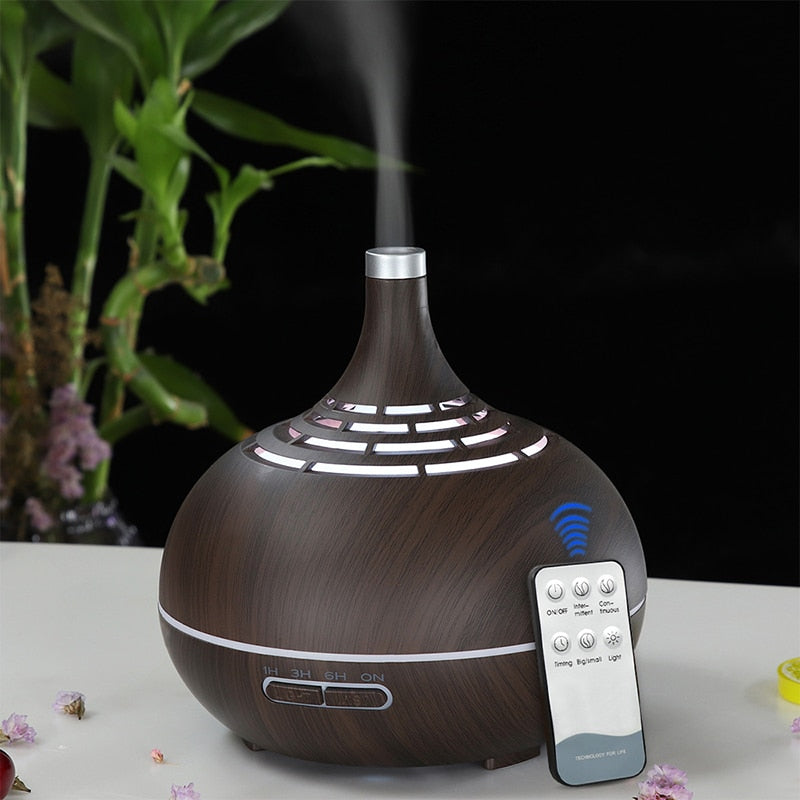 Wood Grain Remote Control Essential Oil Diffuser