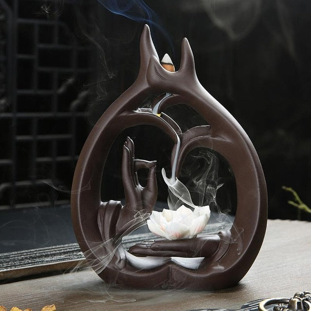 Buddha Hand Smoke Waterfall Incense Burner