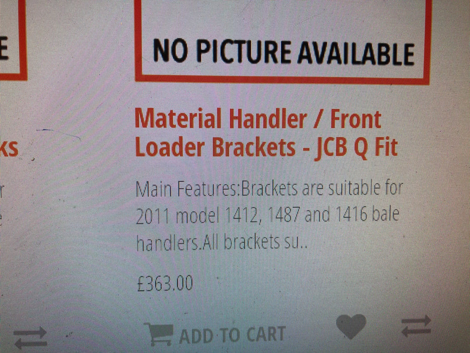 Material Handler/Front Loader Brackets for Ritchie Bale Handlers
