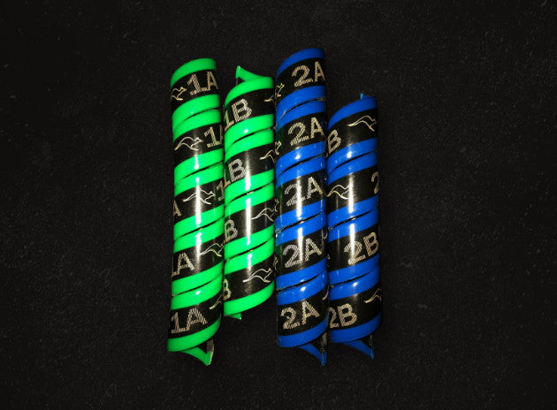 Outback Wrap - 2 Pairs (Blue & Green) for Large Hydraulic Hoses