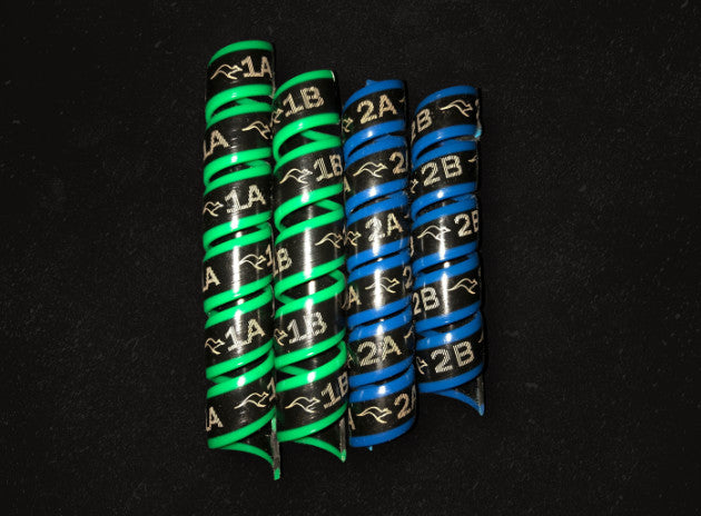Outback Wrap - 2 Pairs (Blue & Green) for Marking Small Hydraulic Hoses