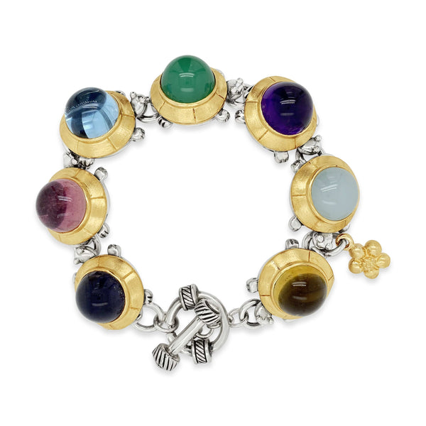 12mm Herd Of Turtles Bracelet | Sterling Silver 18k Gold Gemstone Bracelet