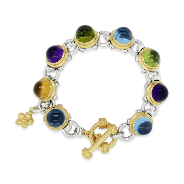 10mm Herd Of Turtles Bracelet | Sterling Silver 18k Gold Gemstone Bracelet
