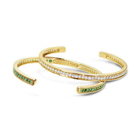 thin diamond and tsavorite bracelets in 18k gold