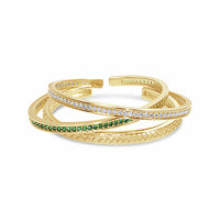 fine jewelry 18k gold and tsavorite bracelet stack
