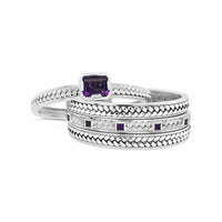 sterling silver woven herringbone and amethyst cuff bracelet stack