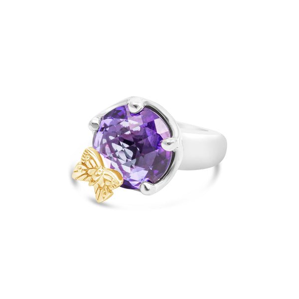 amethyst butterfly ring