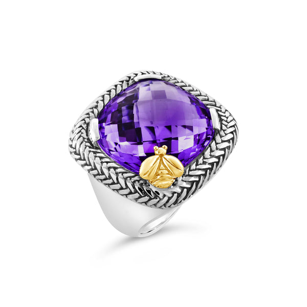 Amethyst Ring Sterling Silver | Large Trenza Ring with Gold Bee