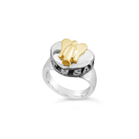 angel heart ring gold and silver