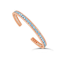 18k rose gold and aquamarine March birthstone cuff bracelet