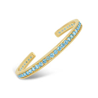 18k yellow gold pave aquamarine open back cuff bracelet