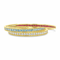 ruby diamond and aquamarine 18k gold stack cuff bracelet