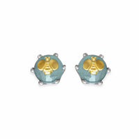 aquamarine button earring with gold bee