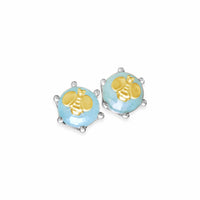 aquamarine earrings with gold bee