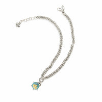 silver necklace with aquamarine stone