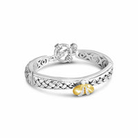 Diamond Bee Bangle Bracelet with Toggle | Gold & Silver Barbarilla Bracelet
